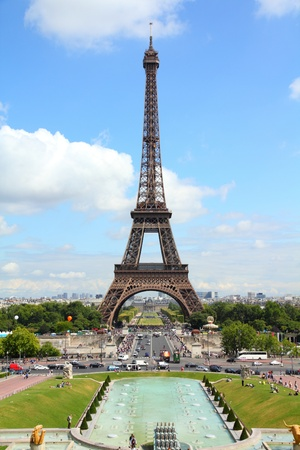 Paris, France - cityscape with Trocadero gardens and Eiffel Tower. UNESCO World Heritage Site. photo