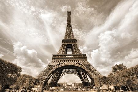 Paris, France - Eiffel Tower seen from Champ de Mars. UNESCO World Heritage Site.