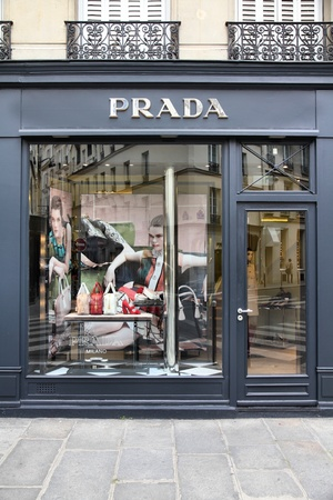 prada: PARIS - JULY 24: Prada store on July 24, 2011 in Paris, France. The Italian fashion company is present in 65 countries with 250 single brand shops. It was founded in 1913.