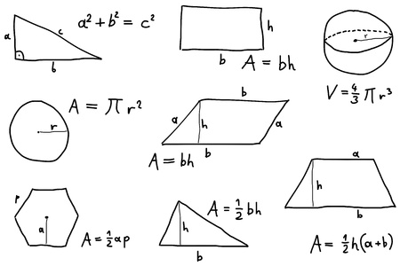 trapezoid: Escrito a mano ilustraci�n de garabatos - f�rmulas de geometr�a. Las f�rmulas para el �rea de pol�gono, tri�ngulo y otras propiedades. Vectores