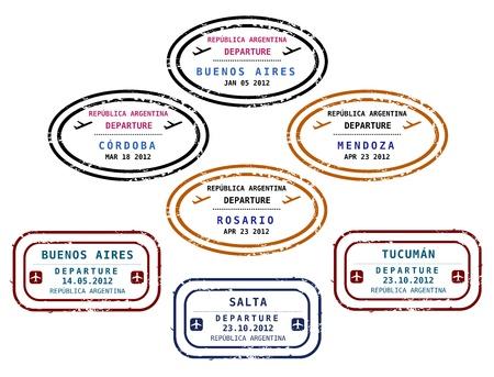 aduana: Viaje sellos de Argentina. Grungy sellos escalable (no real). Destinos de Argentina: Buenos Aires, C�rdoba, Mendoza, Rosario, Tucum�n y Salta.