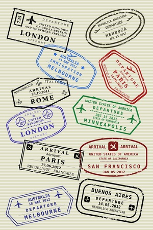 passport stamp: Various colorful visa stamps (not real) on a passport page. International business travel concept. Frequent flyer visas. Illustration