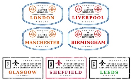 Travel stamps from United Kingdom (UK). Grungy scalable stamps (not real). Argentinian destinations: London, Liverpool, Manchester, Birmingham, Glasgow, Sheffield and Leeds. Vector Illustration