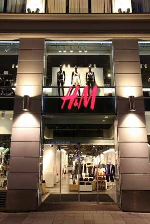 hm: VIENNA - SEPTEMBER 6: H&M store on September 6, 2011 in Vienna. H&M is an international fashion retail corporation known for its fast fashion approach. Founded in 1947, it employs 87,000 people as of 2011.