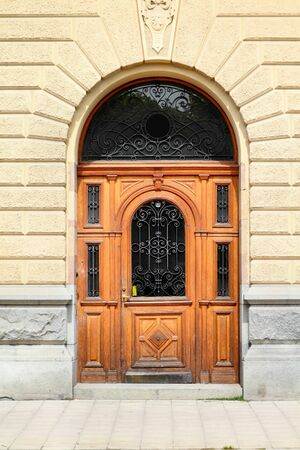 ornamented: Stockholm, Sweden. Beautiful wooden door, old architecture. Editorial