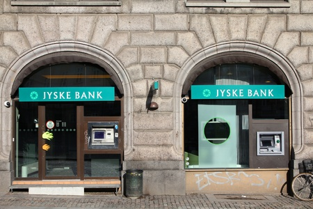 COPENHAGEN - MARCH 11: Jyske Bank branch on March 11, 2011 in Copenhagen, Denmark. Jyske Bank announced 757 million DKK of profit for 2010 (61% growth). It is 3rd largest in Denmark (market share).