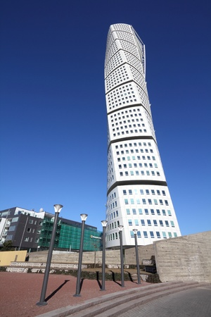 MALMO, SWEDEN - MARCH 8: Turning Torso skyscraper on March 8, 2011 in Malmo, Sweden. Designed by Santiago Calatrava, it is the most recognized landmark of Malmo today.