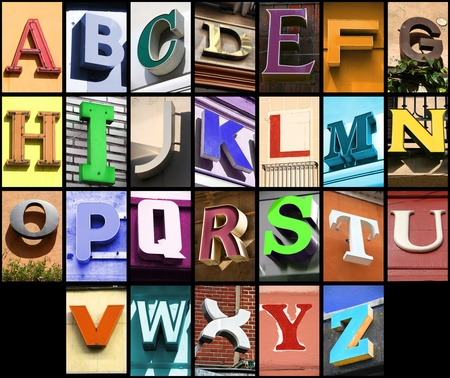 architecture alphabet: City ABC - alphabet collage. Colorful letters font from urban buildings.