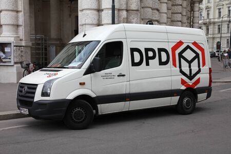 exists: VIENNA - SEPTEMBER 7: DPD van on September 7, 2011 in Vienna. DPD is currently one of largest parcel delivery companies with 24,000 employees worldwide (2011). It exists since 1977.