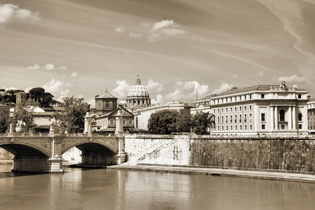 tevere: Rome, Italy. Cityscape with Saint Peters Basilica and river Tevere. Stock Photo