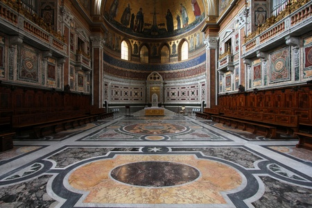 Rome, Italy - famous Papal Archbasilica of St. John Lateran, officially the cathedral of Rome. Baroque interior. Editorial