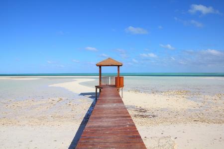 Cuba - Caribbean beach Cayo Guillermo. Sandy coast and seaside boardwalk. Jardines del Rey region. Stock Photo
