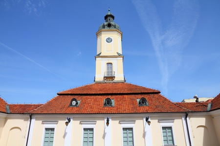 old town townhall: Bialystok, Poland - city architecture, town hall building. Podlaskie province. Stock Photo