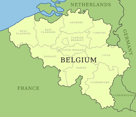 belgium map with administrative division into provinces vector