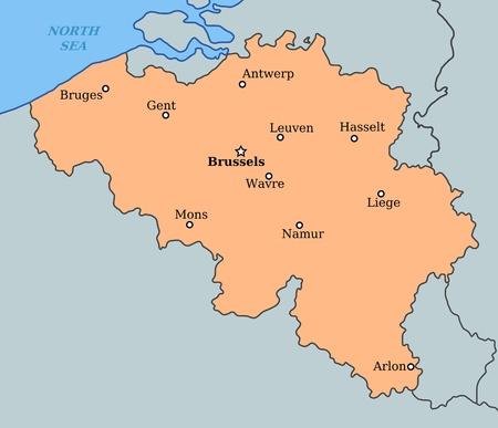 Carte de la Belgique avec les grandes villes: Bruxelles, Bruges, Anvers, Li�ge et d'autres Banque d'images - 12187913