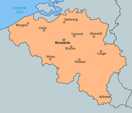 Map Of Belgium With Major Cities Brussels Bruges Antwerp Liege And Others