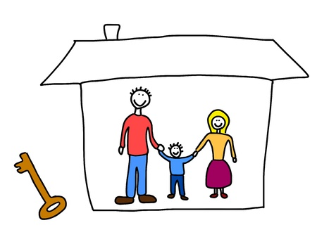 home moving: Happy family: mother, father and child. New home - moving in concept. Child-like illustration.
