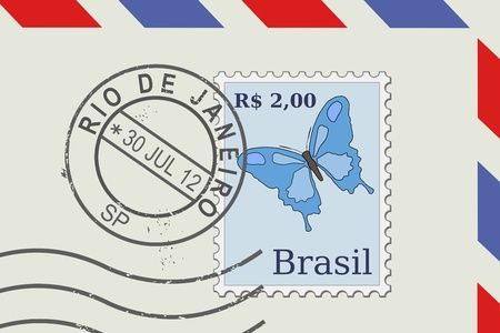 janeiro: Letter from Brazil - postage stamp and post mark from Rio De Janeiro. Brazilian mail. Illustration