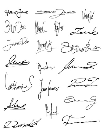 signature: Signature set - collection of fictitious contract signatures. Business autograph illustration.