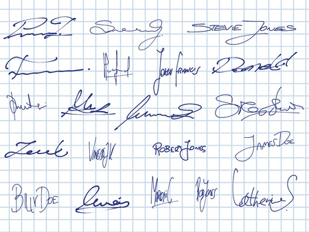 Signature collection - set of fictitious contract signatures. Business autograph illustration.