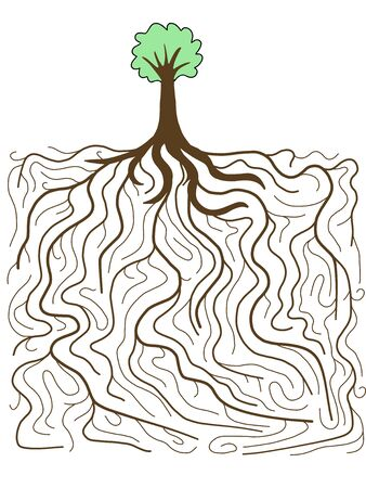 complexity: Doodle illustration - tree with gigantic root system. Nature complexity.
