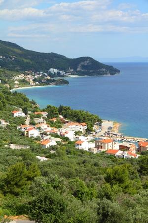 Croatia - beautiful Mediterranean coast landscape in Dalmatia. Adriatic Sea view in Zivogosce. photo