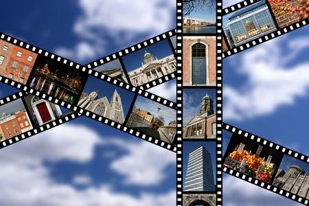 Film strips with travel photos. Dublin, Ireland, Europe. Stock Photo
