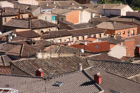 toledo town: Aerial view of old town Toledo, Spain. Spanish city. Stock Photo