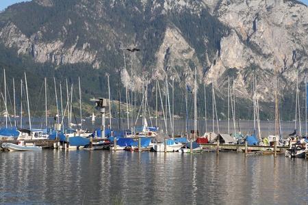 upper austria: Upper Austria - Traunsee lake marina in Gmunden. Salzkammergut region.