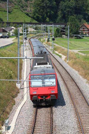 st gallen: Red train in Canton of St. Gallen, Switzerland