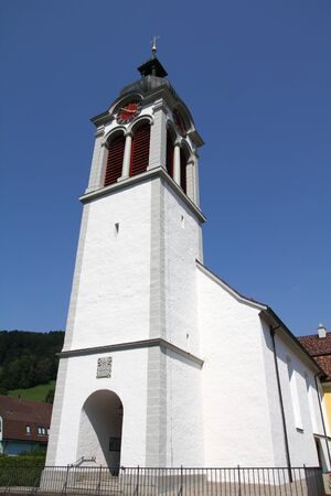 st  gallen: St. Peterzell en Cant�n de Sankt Gallen, Suiza. White iglesia.