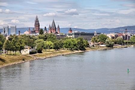 Mainz, Germany - town in Rhineland-Palatinate region. Cityscape skyline with river Rhine. Stock Photo