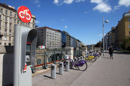 VIENNA - SEPTEMBER 6: Citybike station on September 6, 2011 in Vienna. Citybike bicycle sharing network has 80 stations and 700 bicycles. It is unique, because 1st hour is always free. Stock Photo - 12299457