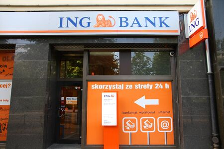 ing: POZNAN, POLAND - JUNE 7: ING Bank branch on June 7, 2011 in Poznan, Poland. As of 2010, ING Bank was the 4th largest bank in Poland by total assets.
