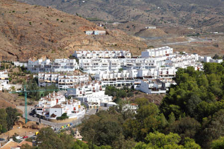 Malaga in Andalusia, Spain. Aerial view of white residential district.