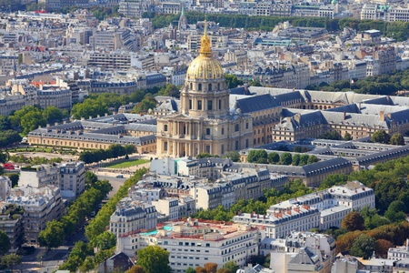 invalides: Paris, France - aerial city view with Invalides Palace.