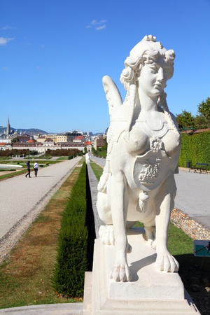 Castle Belvedere gardens in Vienna, Austria. Sphynx statue. The Old Town is a UNESCO World Heritage Site.