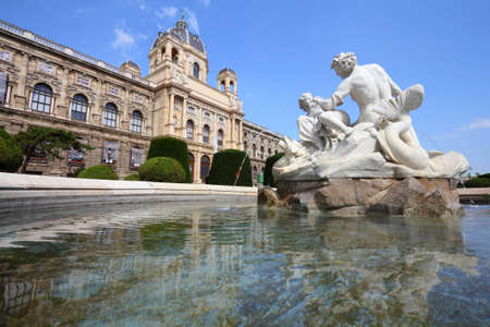 Vienna, Austria - fountain in front of Natural History Museum. The Old Town is a UNESCO World Heritage Site.