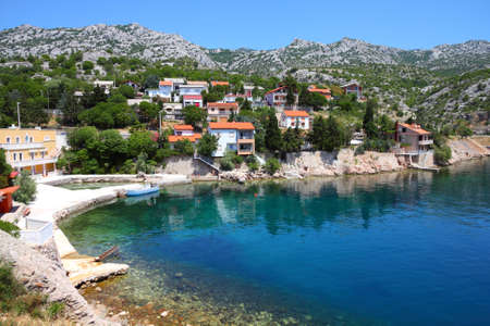 Croatia - beautiful Mediterranean coast landscape in Dalmatia. Adriatic Sea view with a village. Stock Photo - 12854471
