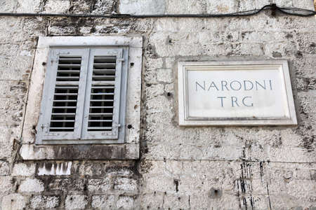 Split in Dalmatia, Croatia. Narodni Trg - main square sign (National Square).
