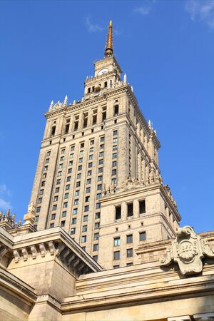 WARSAW, POLAND - SEPTEMBER 8: Palace of Culture and Science on September 8, 2010 in Warsaw. The palace is an example of stalinist architecture and is the tallest building in Poland.