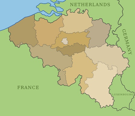 division: Belgium map with administrative division into provinces. Illustration