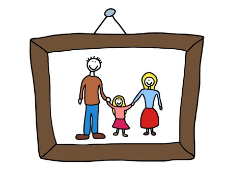 picture frame on wall: Happy family: mother, father and child. Good memories - family photo. Child-like illustration.