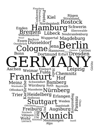 Map of Germany - outline made of city names. German concept. Vector