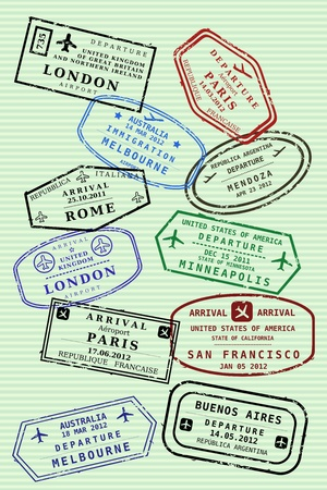 Various colorful visa stamps (not real) on a passport page. International business travel concept. Frequent flyer visas. Illustration