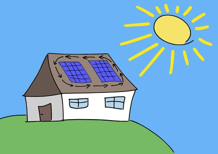 photovoltaic: Doodle drawing - solar energy concept. Renewable sun power with photovoltaic cells on house roof.