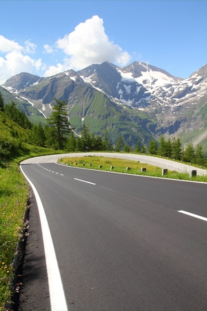 twisted: Alps in Austria. Hohe Tauern National Park. Hochalpenstrasse - famous mountain road.