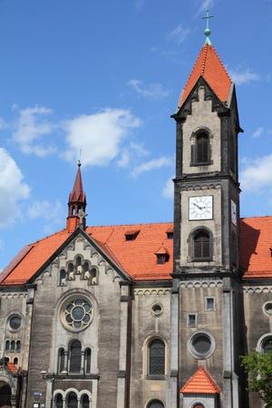 gory: Tarnowskie Gory, regione Slesia in Polonia. Chiesa evangelica. Archivio Fotografico