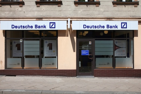 exists: TARNOWSKIE GORY, POLAND - MAY 25: Deutsche Bank entrance on May 25, 2011 in Tarnowskie Gory, Poland. DB exists since 1870 and employs more than 102,000 people (2010 data).