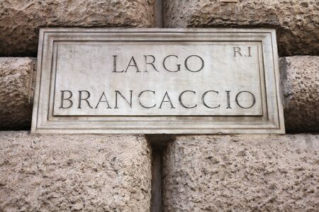 Largo Brancaccio - old street sign in Rome, Italy photo